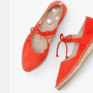 NWOB Boden Claire Suede Flat Espadrilles, Red Pop